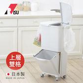 【日本RISU】雙層移動式分類垃圾桶(上層雙格)-45L (H&H 清潔 居家 廚房 廚餘 整理 塑膠)