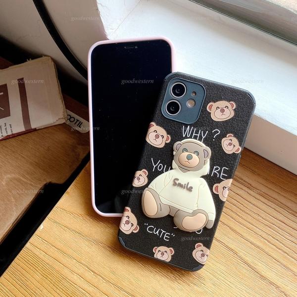 帽T可愛熊|Vivo X50 Pro X50 V17 鏡頭保護 全包邊殼 小羊皮 立體小熊 防摔 手機殼 微笑 小熊