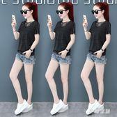 短袖T恤女2019新款夏季韓版蕾絲打底寬鬆顯瘦V領短袖蕾絲上衣 QW4168『夢幻家居』