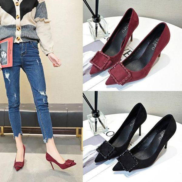 韓版通勤風尖頭酒紅色皮帶扣細跟上班高跟鞋19春季新款百搭單鞋女 貝芙莉