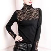 黑色高領打底衫女2020秋冬時尚新款歐貨純棉帶燙鑚T恤修身小衫潮