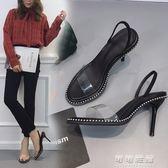 歐美夏鉚釘金屬珠一字帶透明魚嘴黑色性感細跟高跟涼鞋女可可鞋櫃