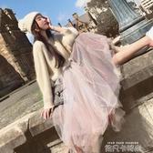 2020秋季慵懶風寬鬆套頭顯瘦針織毛衣網紗裙兩件套小清新時尚裙子 依凡卡時尚