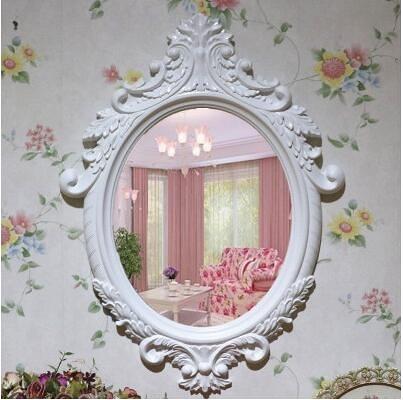 歐式梳妝鏡壁掛鏡子梳妝台鏡田園化妝鏡浴室鏡(大號9028純白80*60)