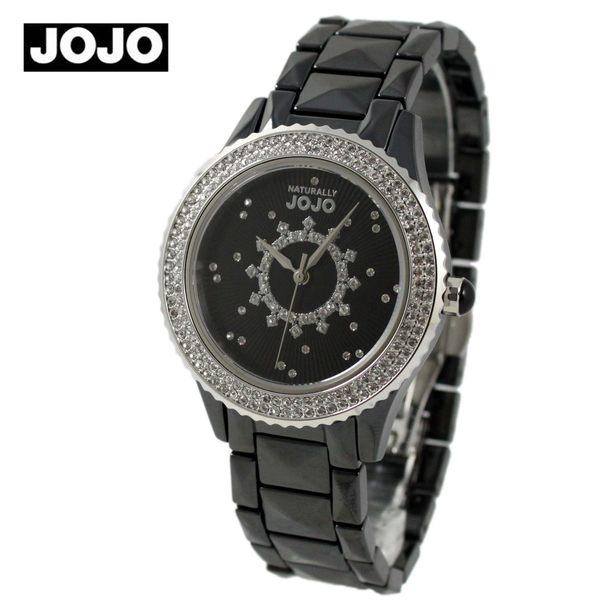 【萬年鐘錶】JOJO 陶瓷鑽錶 綻放時光陶瓷腕錶  銀x黑  JO96785-88F