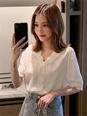 雪紡襯衫 很仙的雪紡衫女寬鬆夏季新款時尚蕾絲V領短袖心機上衣洋氣小衫潮