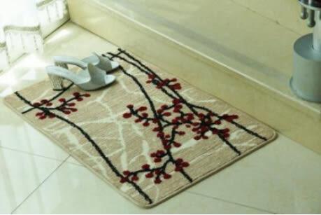 防滑墊門墊腳墊地毯 紅色梅花 40*60cm【藍星居家】