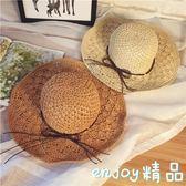 夏季手工鉤針草帽子女士大沿鏤空遮陽帽可折疊防曬大檐太陽沙灘帽  enjoy精品
