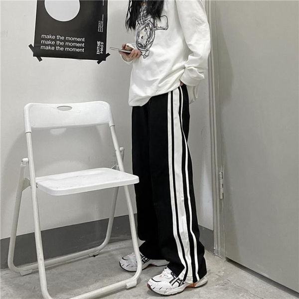 運動褲 春季新款韓版ins學生杠條直筒褲運動褲寬鬆闊腿休閒褲男女潮 韓國時尚週