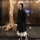 春秋女新款復古黑色寬鬆薄款大衣中長款風衣...