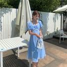 L-4XL大碼洋裝方領連身裙設計感長裙連身裙子658 4F039 韓依紡