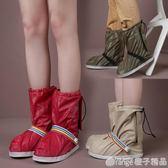 防雨鞋套防滑加厚耐磨便攜成人女防水腳套男士戶外雨天旅行高筒 橙子精品