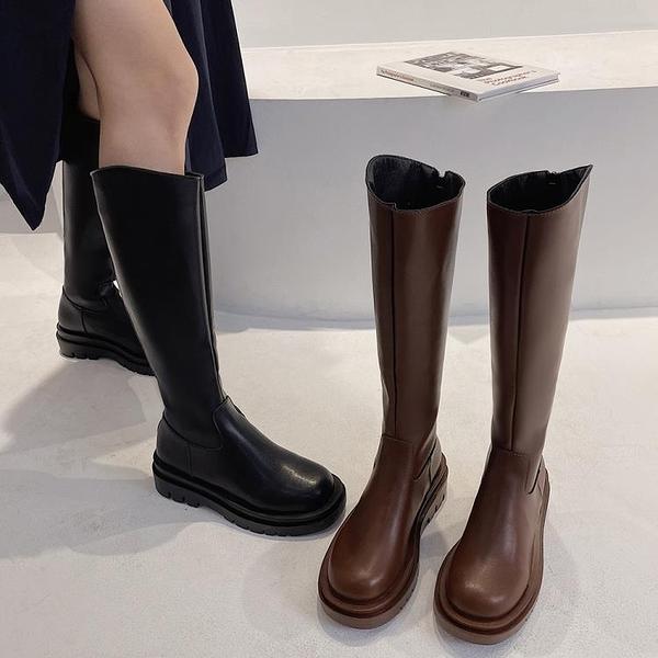 粗跟長筒靴女2021秋新款側拉鏈復古騎士靴不過膝高筒小個子長靴潮 8號店