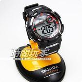 JAGA 捷卡 電子錶 男錶 運動錶 電子錶 學生錶 日期 計時碼表 鬧鈴 紅黑/黑紅 44mm M819-A