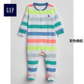 Gap男嬰兒 舒適連腳一件式長袖包屁衣 229896-彩色條紋