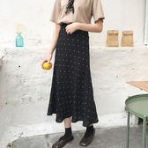 DE SHOP~(D-158)風氣質學生高腰顯瘦點點魚尾A字半身裙長裙