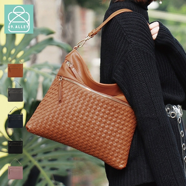 側背包 編織包 多拉鍊輕薄款兩用斜背包(附長帶) 女包 89.Alley-HB89254