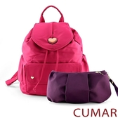 CUMAR 愛心logo防潑水尼龍水桶後背包-粉色(贈紫小包)