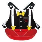 〔小禮堂〕迪士尼 米奇 日製防水矽膠圍兜附背帶《黑紅.領結》口水圍兜.口水巾 4904121-36072
