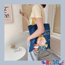 牛仔包 可愛卡通牛仔藍帆布包側背大容量環保購物袋學生書包拉鍊手提袋女寶貝計畫 上新
