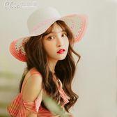 沙灘帽 遮陽帽帽子女夏天防曬帽遮陽草帽大沿帽子防曬太陽帽度假旅游帽「Chic七色堇」