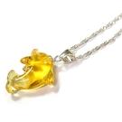 黃水晶立體海豚純銀項鍊