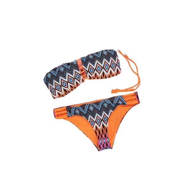 【R】歐美 圖騰 比基尼 幾何圖形 細線條 超性感 二件式 舒適無鋼圈 泳衣