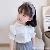 夏款女童翻領白襯衣兒童寶寶透氣純棉法式蕾絲花邊短袖襯衫上衣薄 漾美眉韓衣