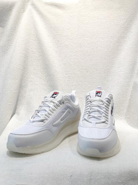 FILA 男款全白輕量緩陣氣墊休閒鞋 1J327V111