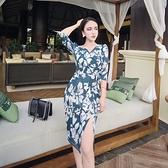 洋裝-七分袖V領印花開叉綁帶女連身裙73pu128【巴黎精品】