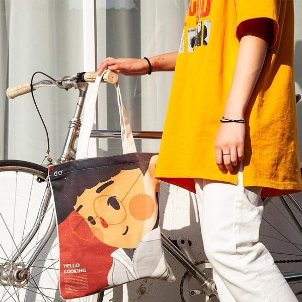 帆布包女 單肩斜跨包 日系學生帆布袋 布袋 大容量韓版手提包
