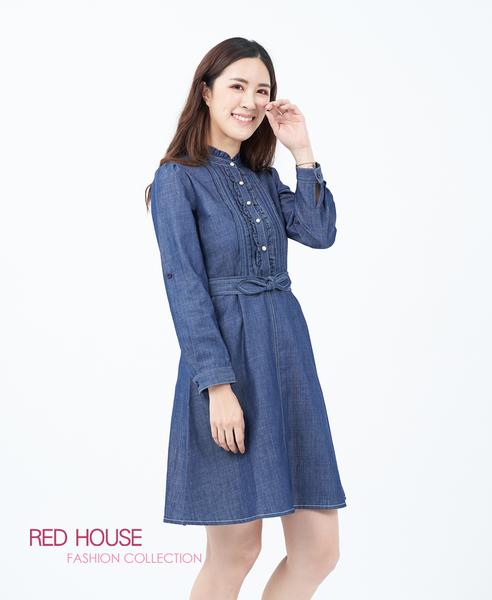 【RED HOUSE 蕾赫斯】荷葉小立領牛仔洋裝(藍色)