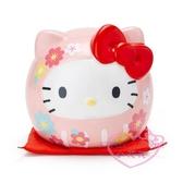 ♥小花花日本精品♥hello kitty凱蒂貓圓形造型陶製存錢筒-達摩款 粉色可愛造型存錢筒撲滿11417101