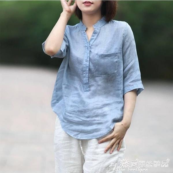 棉麻上衣 復古文藝薄款亞麻V領襯衫女2021夏季新款寬鬆防曬上衣中袖棉麻T恤 愛麗絲
