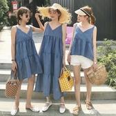 姐妹裝 女裝新款韓版寬鬆V領吊帶無袖洋裝閨蜜裝學生長裙 享購