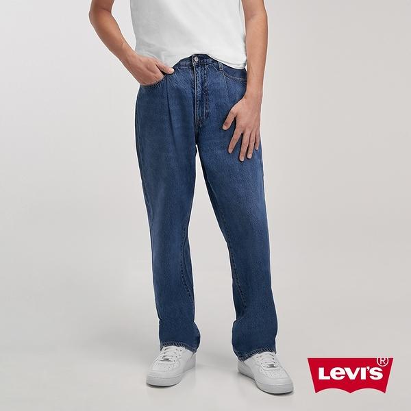 Levis 男款 Stay loose 復古寬鬆版繭型牛仔褲 / 個性打摺設計 / 中藍水洗 / 天絲棉