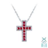 【鑽石屋】十字紅寶鑲鑽墜子