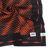 Calvin Klein 波浪紋天然材質帕領巾(紅黑色)989091-1