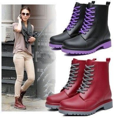 現貨 雨靴雨鞋時尚中筒女雨靴歐美馬丁雨鞋女雨靴...三色..流行線