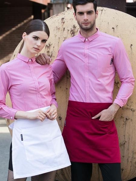 短款圍裙t黑白色咖啡店服務員圍裙廚師工作圍裙 青木鋪子