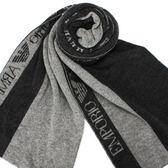 EMPORIO ARMANI雙色直條紋羊毛圍巾(深灰/淺灰)084048