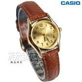 CASIO卡西歐 LTP-1094Q-9B 經典簡約時尚 纖細數字小圓 金x咖啡 女錶 指針錶 皮革錶帶 防水手錶