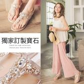 Ann'S輕珠寶-華麗孔雀排鑽小坡跟夾腳涼鞋-金