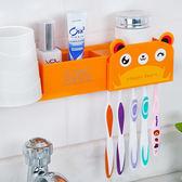 ♚MY COLOR♚洗漱品雙吸盤收納架 牙刷 牙膏 水杯 洗面乳 帶蓋 家庭 可愛 動物 牙杯 防塵【R59】