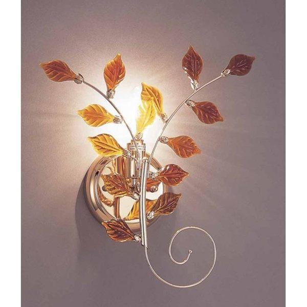 樹葉鋼質鍍法國金水晶壁燈─高32寬27深10cm─E14 X 1【雅典娜家飾】ACY035