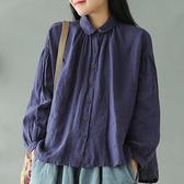 亞麻襯衫 寬鬆長袖襯衫 褶皺翻領上衣 白襯衫/4色-夢想家-0216