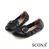 SCONA 蘇格南 全真皮 Q彈舒適深口旅行鞋 黑色 31007-1
