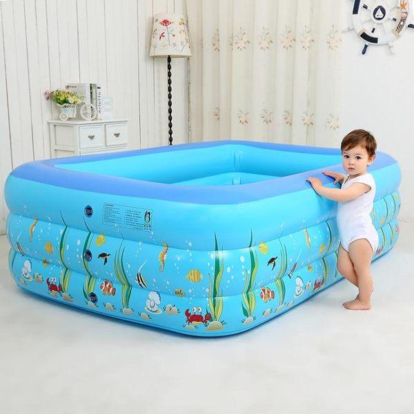 加厚小孩家用充氣方形泳池xx1630 【VIKI菈菈】