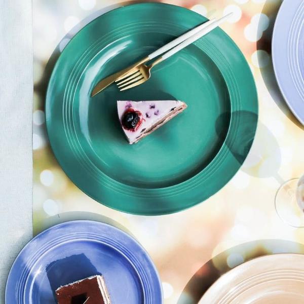 簡約純色陶瓷圓形歐式創意家用11英寸菜盤沙拉盤西
