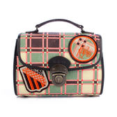 KENZO 限量格紋針織復古扣頭化妝包(綠色) 910778-1